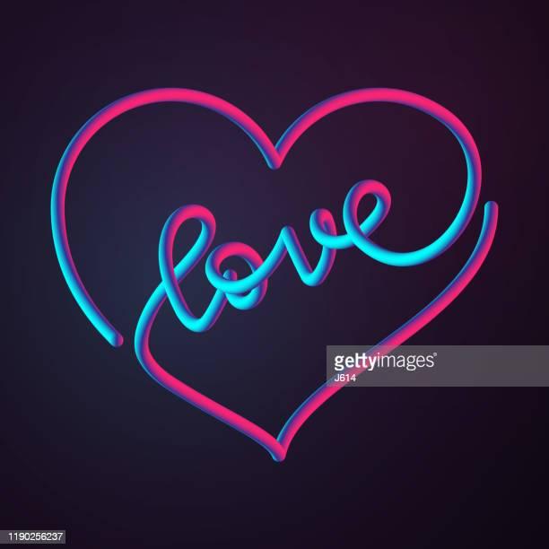 illustrazioni stock, clip art, cartoni animati e icone di tendenza di un cuore amorevole - colore fluorescente