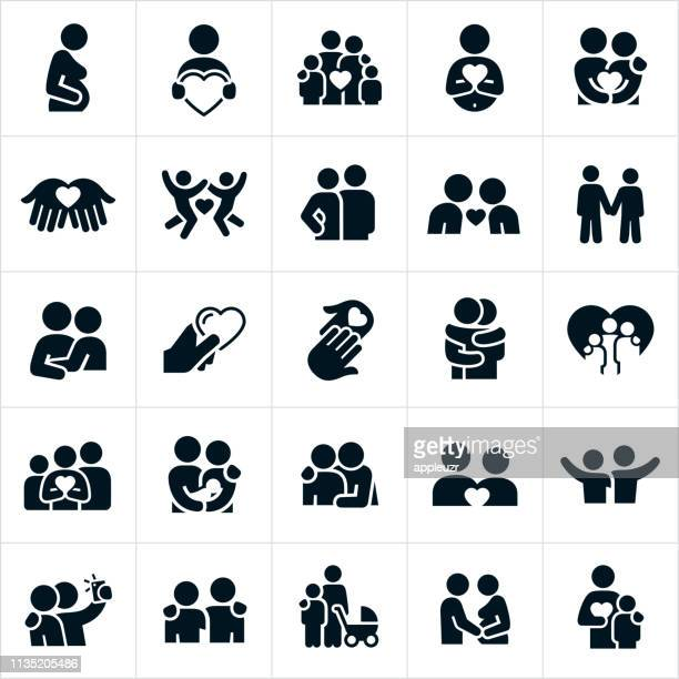 loving relationships icons - togetherness stock illustrations