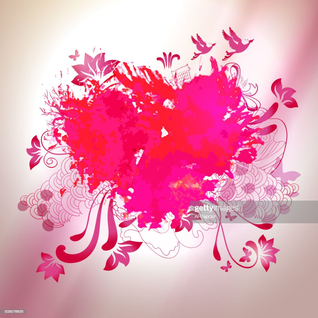 Loving watercolor splash heart with sketch graphical elements : Vector Art