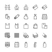 Low density polyethylene flat line icons. LDPE products - food package film, thermoresistant paper, garbage bag, plastic bottle, bubble wrap vector illustrations. Pixel perfect 64x64 Editable Strokes