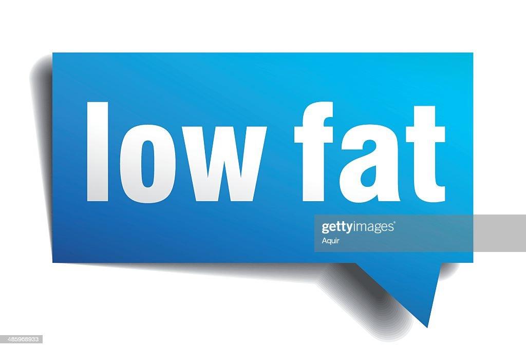 Low fat blue 3d realistic paper speech bubble