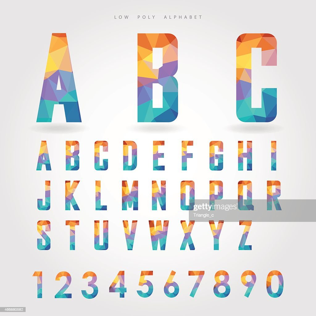 low poly alphabet and number on polygon concept