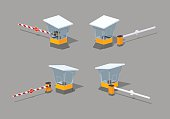 Low poly barrier and toll booth