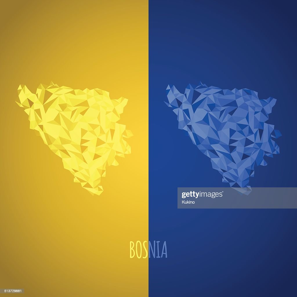 Low Poly Bosina Map with National Colors