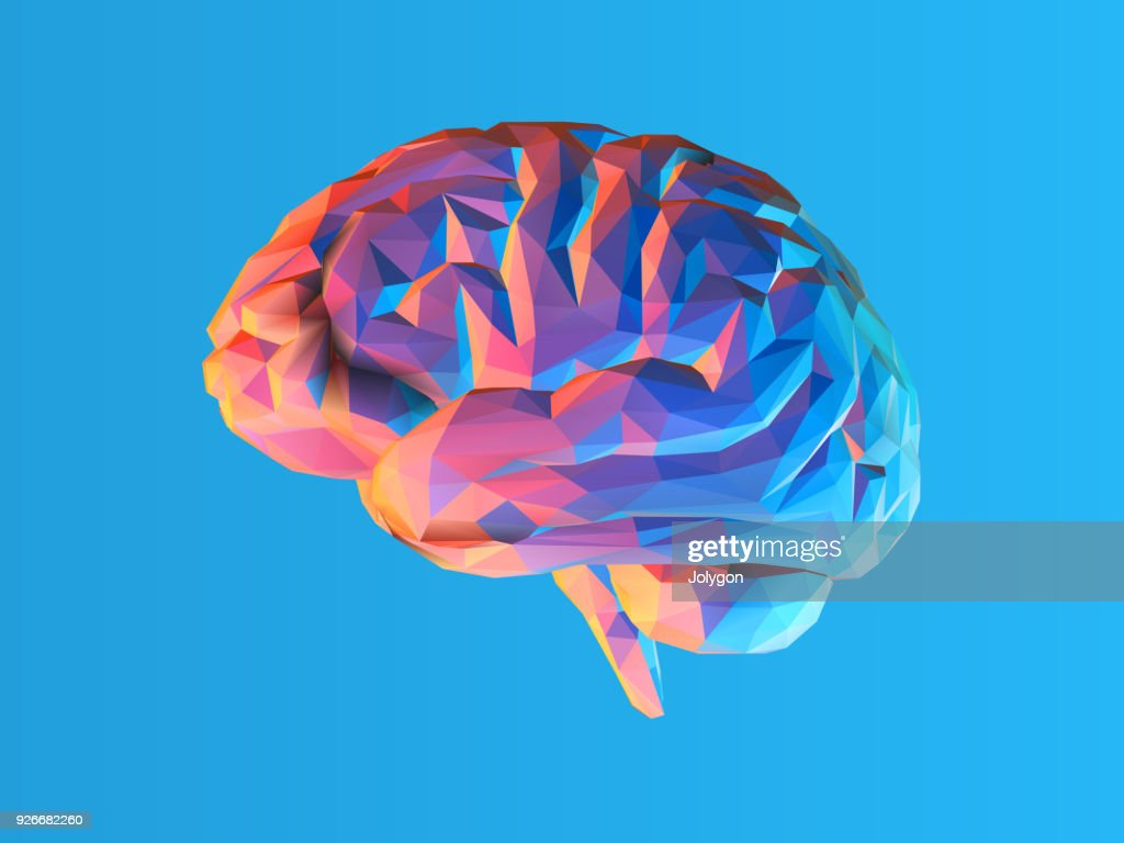 Low poly brain illustration isolated on blue BG