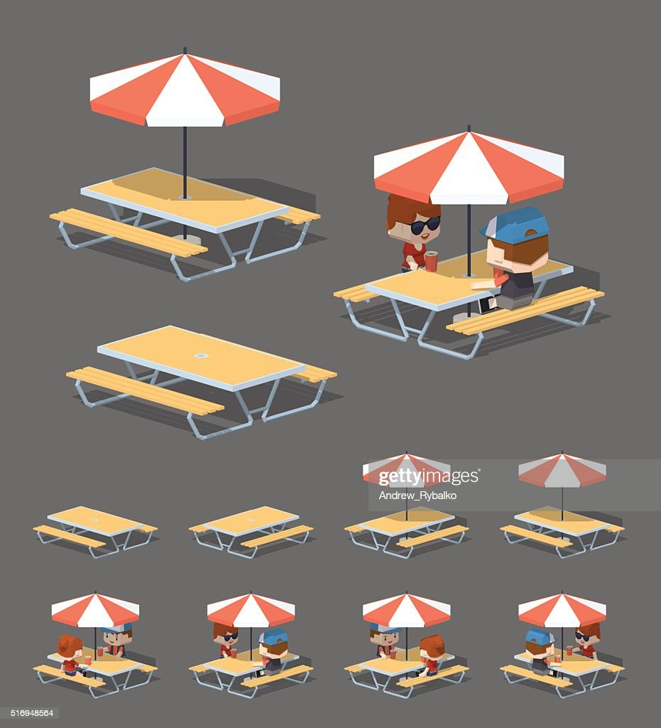 Low poly cafe table with sun umbrella