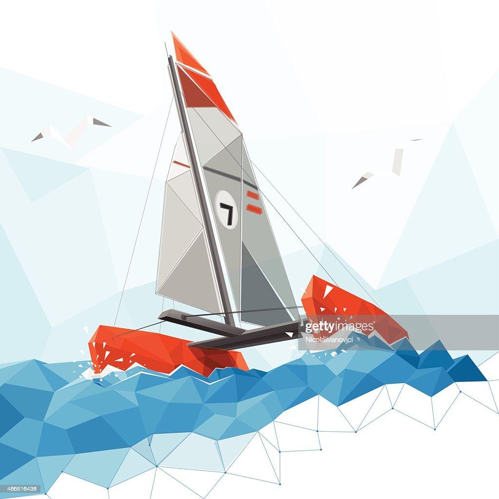 Low poly catamaran