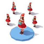 Low poly Christmas girl