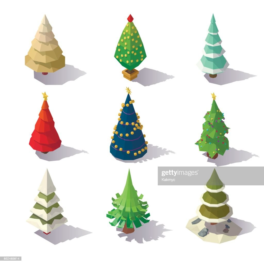 Low poly Christmas trees