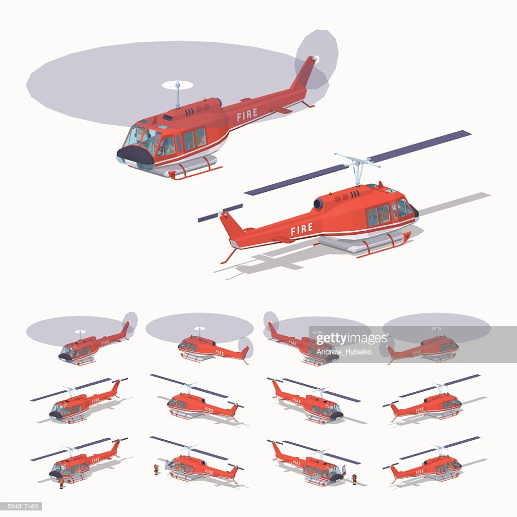 Low poly fire helicopter