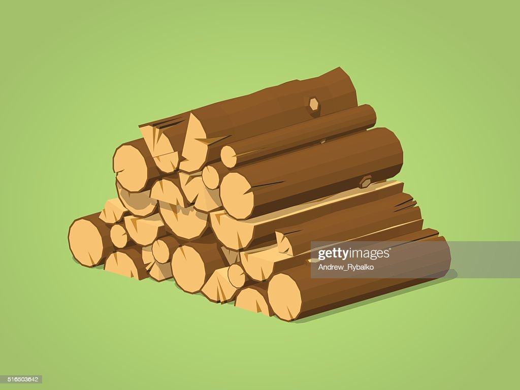 Low poly firewood stacked in piles