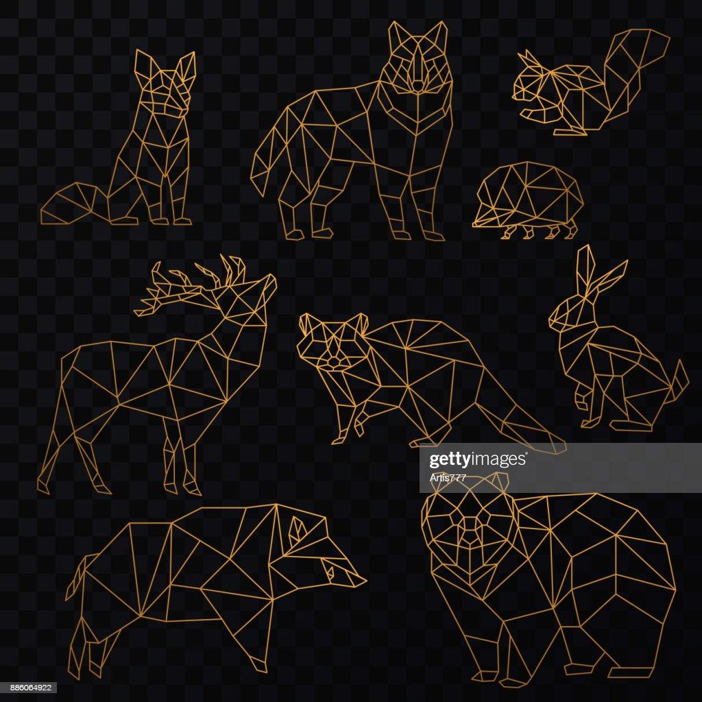 Low poly golden line animals set. Origami poligonal gold line animals. Wolf bear, deer, wild boar, fox, raccoon, rabbit and hedgehog on the transperant background.