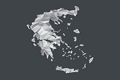 Low poly Greece map vector of white color geometric shapes or triangles on black background illustration