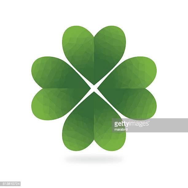 low poly green four leaf clover white background vector id