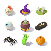 Low poly Halloween decorations