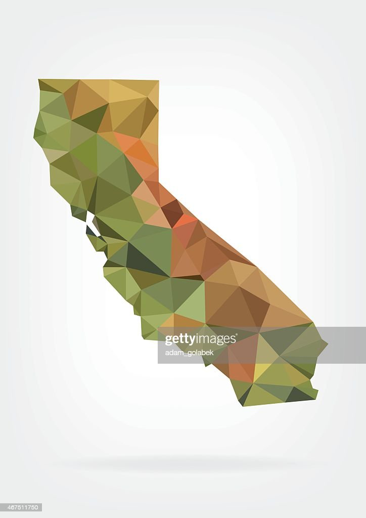 Low Poly map of California state