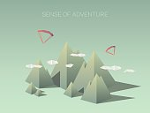 Low poly mountain landscapes. Modern geometric polygonal shapes. Outdoor adventures
