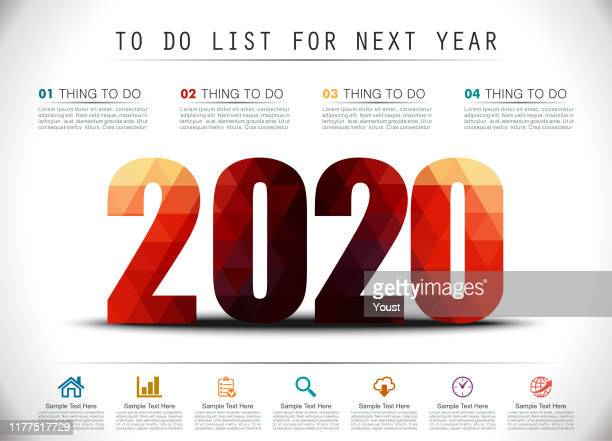 low poly new year 2020 to do list - to do list stock illustrations