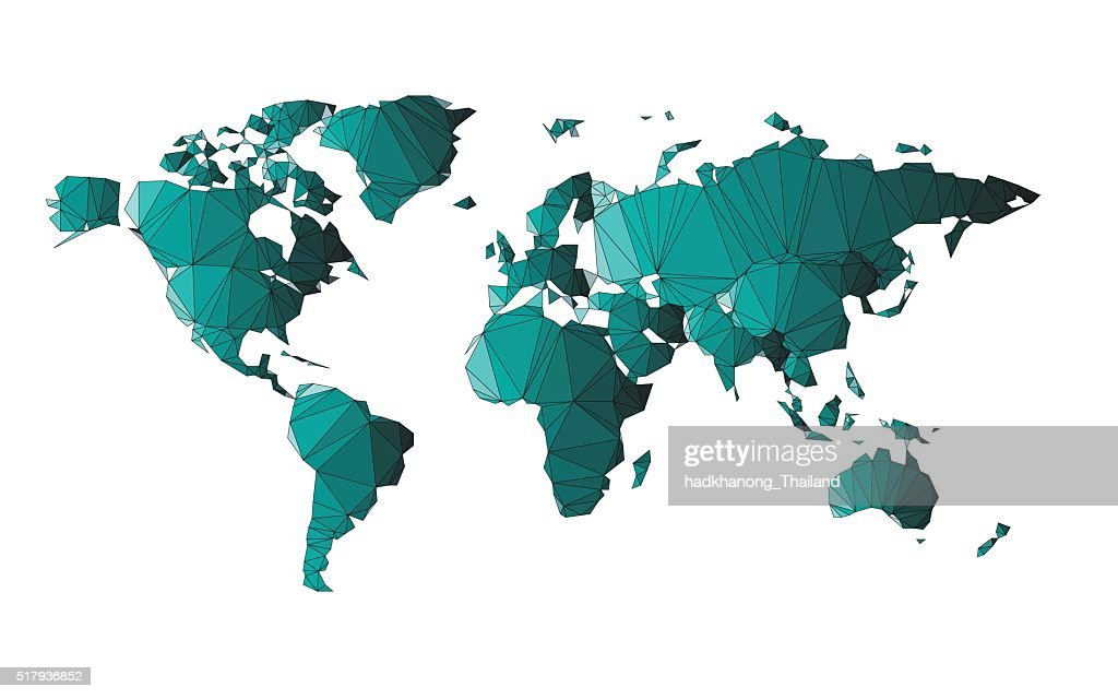 Low poly of world map with structure line