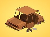 Low poly old rusty car