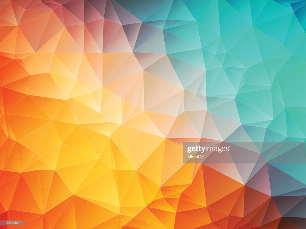 low poly orange blue background