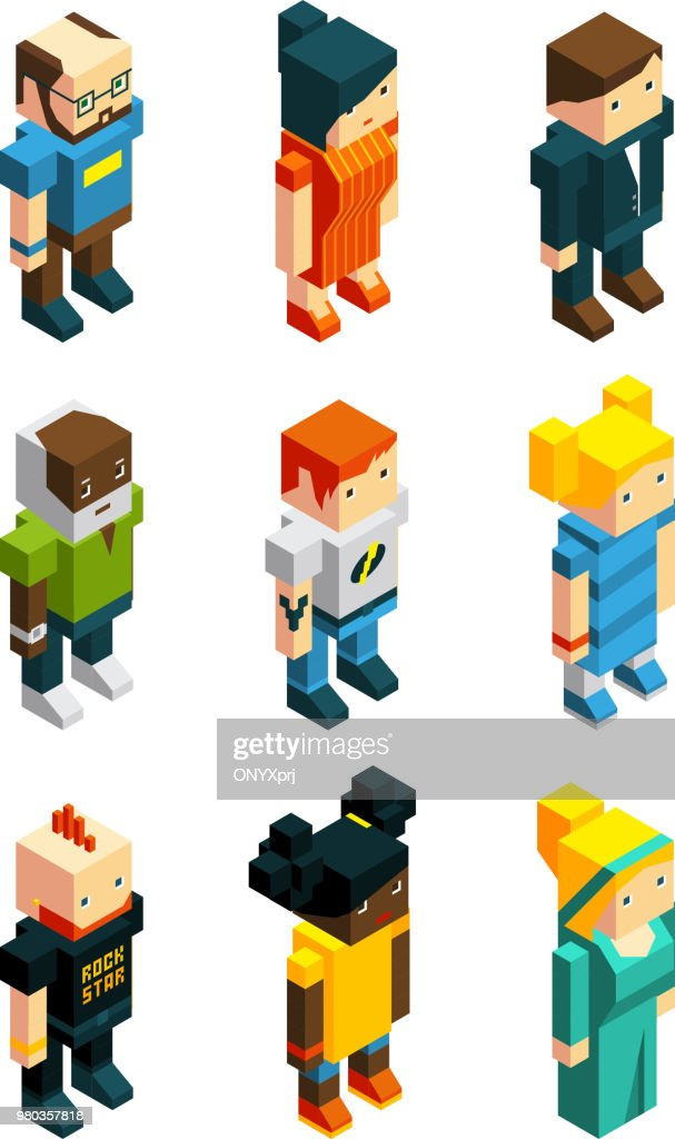 3D low poly peoples. Isometric user icons set