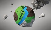 3D Low Poly Planet, vector illustration