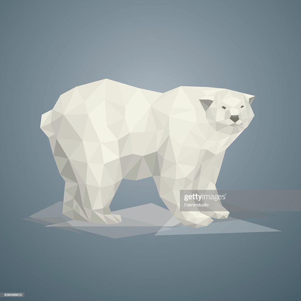 Low poly polar bear. Vector illustration.