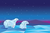 Low poly polar bears sitting on ice