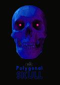 Low poly purple skull with wireframe on dark BG