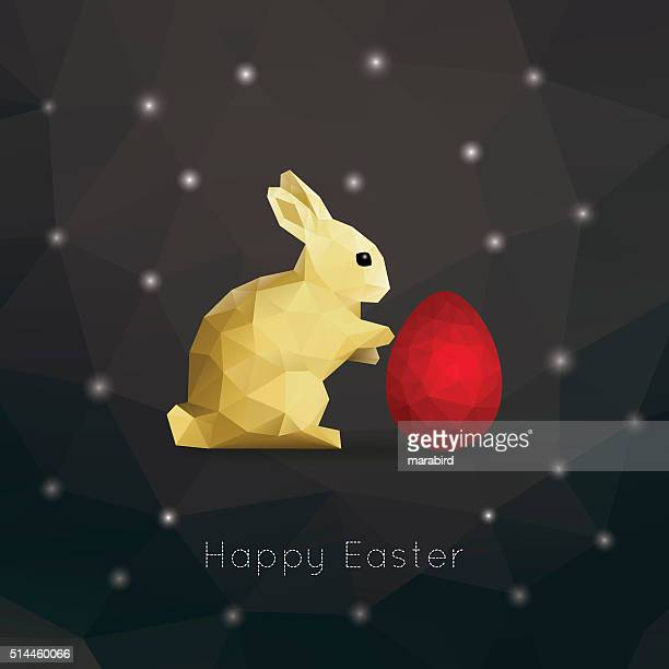 ilustraciones, imágenes clip art, dibujos animados e iconos de stock de bajo poli conejo rojo brillante negro de semana santa clara de huevo - animal egg