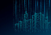 Low poly smart city 3D wire mesh. Intelligent building automation system business concept. Binary code number data flow. Architecture urban cityscape technology sketch banner vector illustration