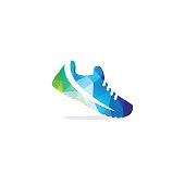 Low poly sports shoe vector. Sneakers icon.