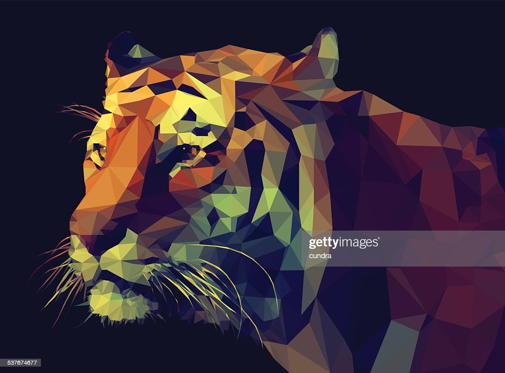 Low Poly- Style Tiger Illustration.