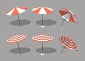Low poly sun umbrellas
