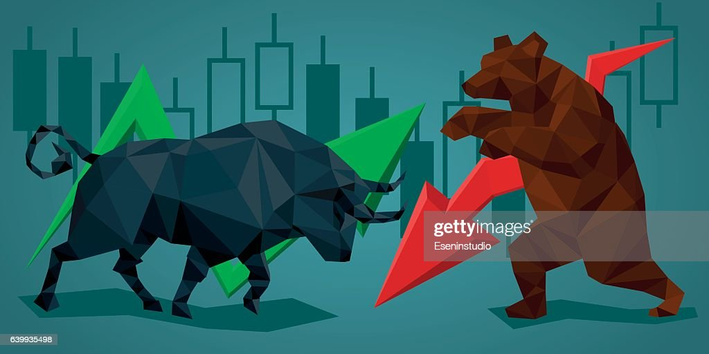 Low poly trade bull and bear.