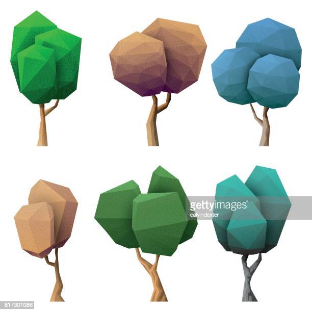 low poly trees collection - tree trunk stock illustrations, clip art, cartoons, & icons