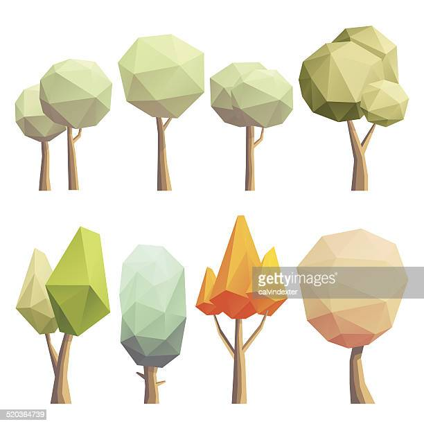low poly bäumen - origami stock-grafiken, -clipart, -cartoons und -symbole