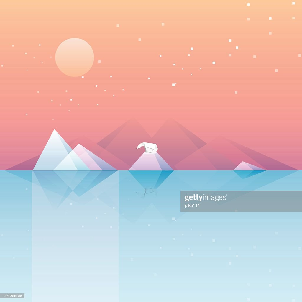 low poly vector illustration wallpaper of calm arctic landscape
