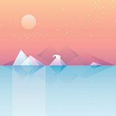low poly vector illustration wallpaper of calm arctic landscape