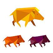 Low poly wild boar. Polygonal geometric style pig sign.