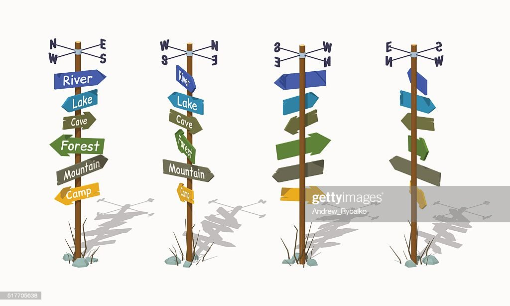 Low poly wooden signpost with the colorful arrows