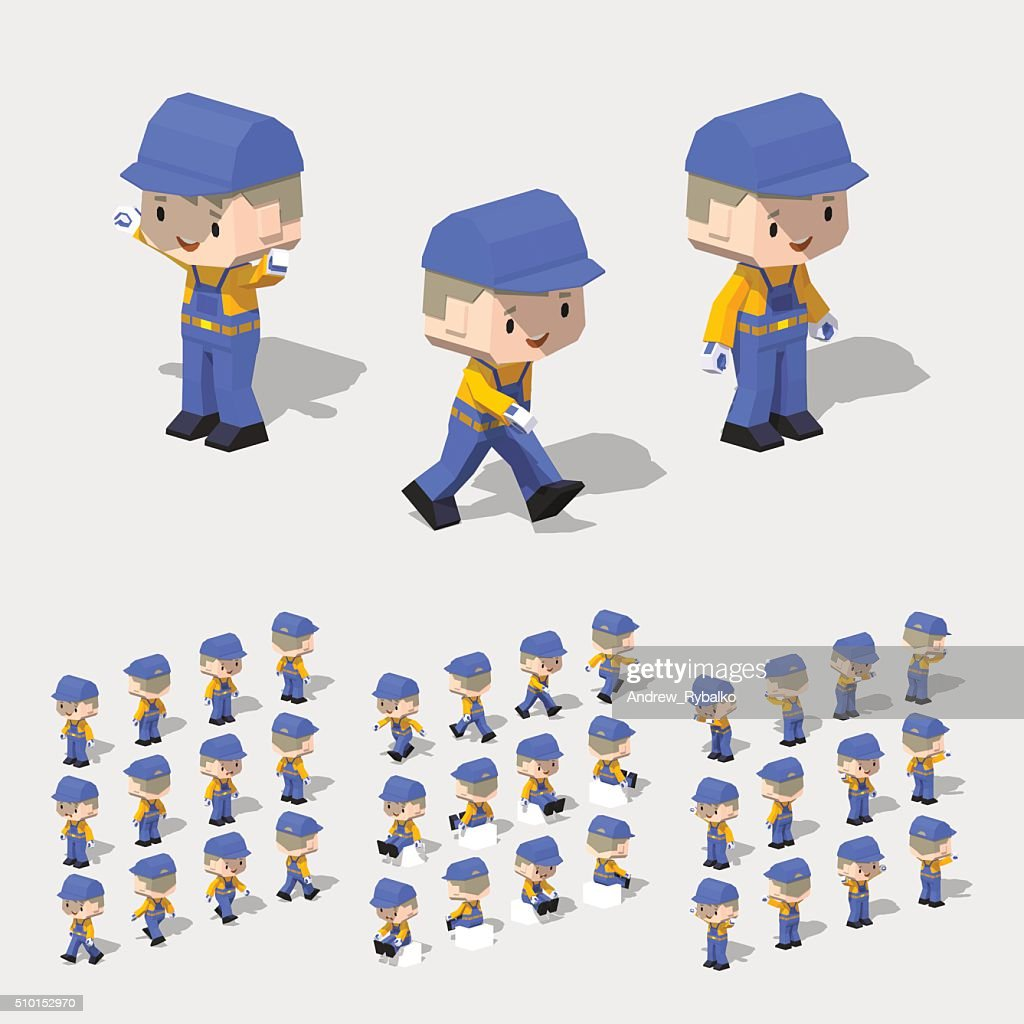 Low poly worker with blond hair, in the blue jumpsuit