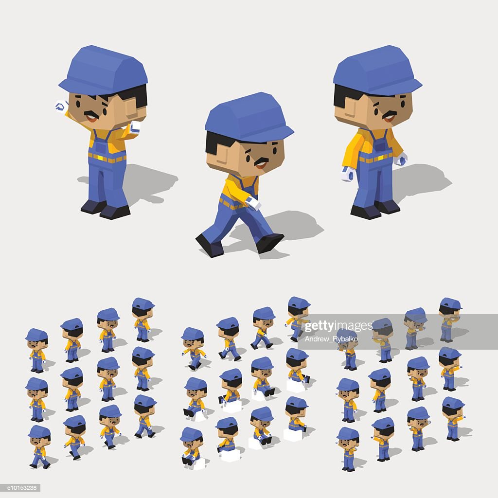 Low poly worker with dark hair, mustache, in the blue