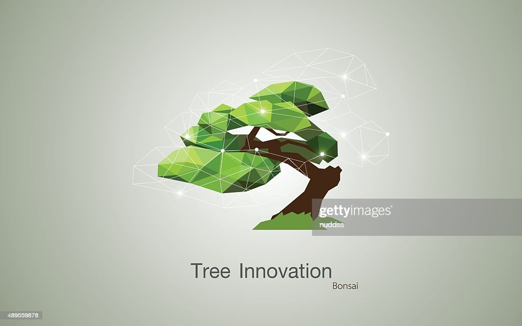 Low polygon geometric trees. Abstract vector Illustration, Background design, bonsai
