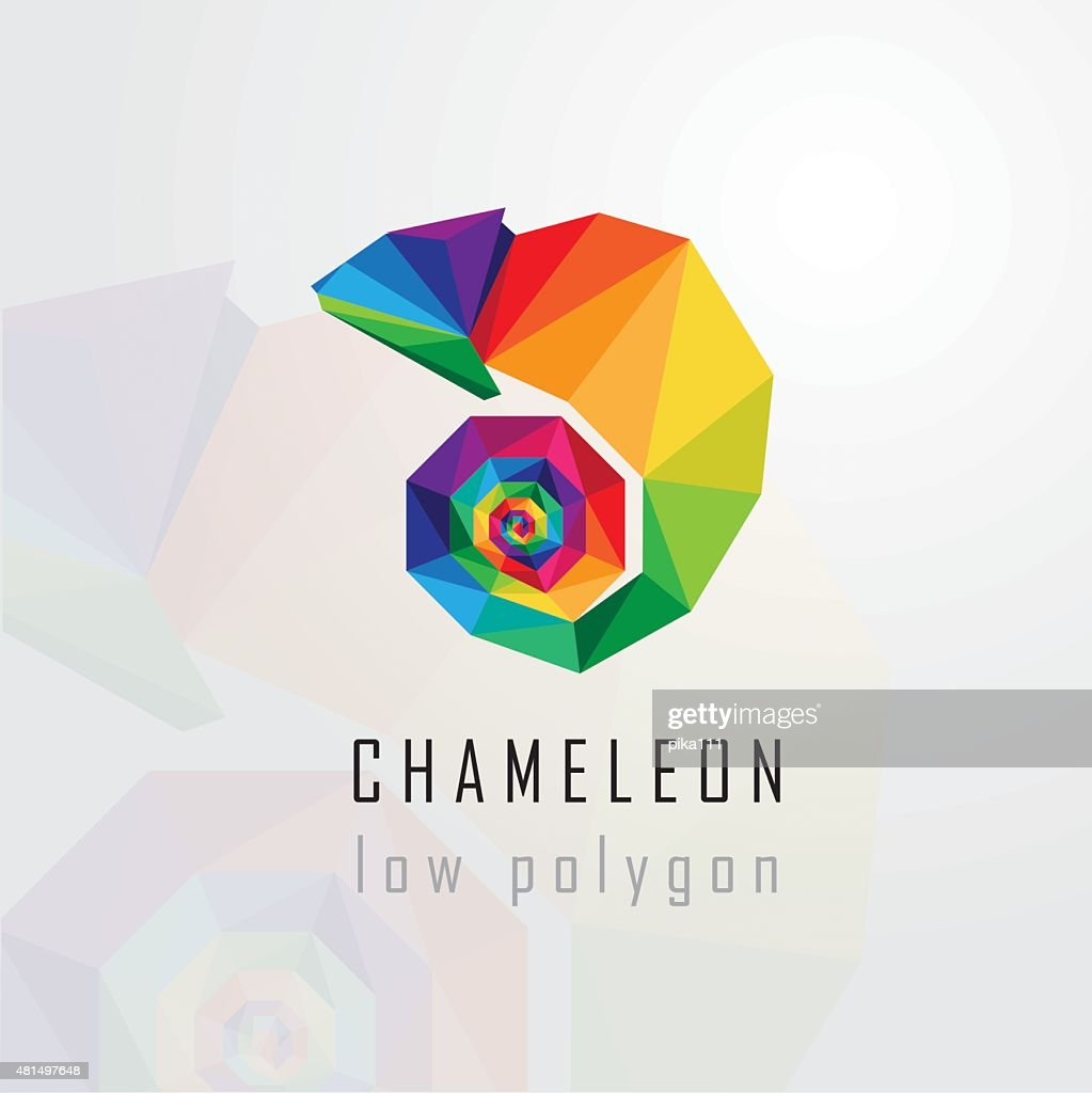 low polygon style abstract multicolored chameleon logo element