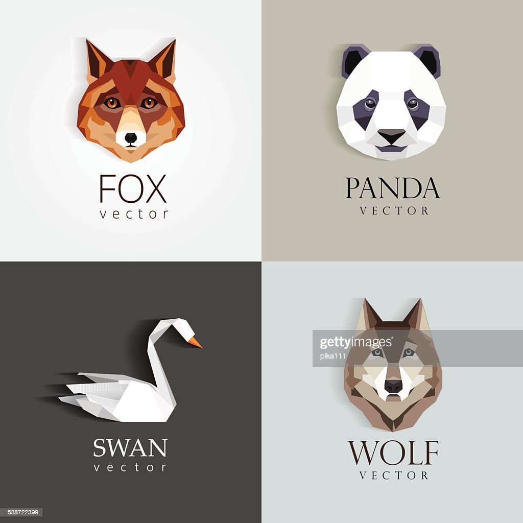 low polygon style animals- swan, fox, panda, wolf icons