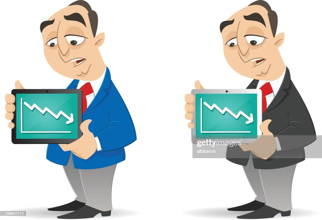Lower income shown on Tablet : stock illustration