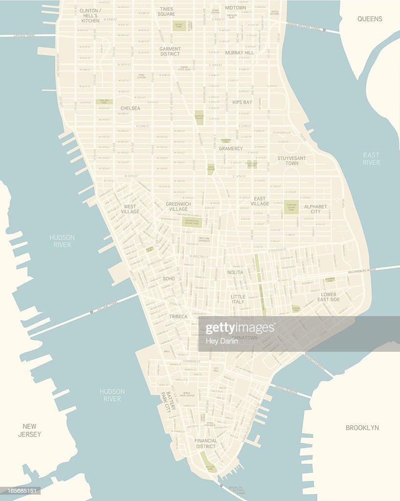 Lower Manhattan Map : stock illustration