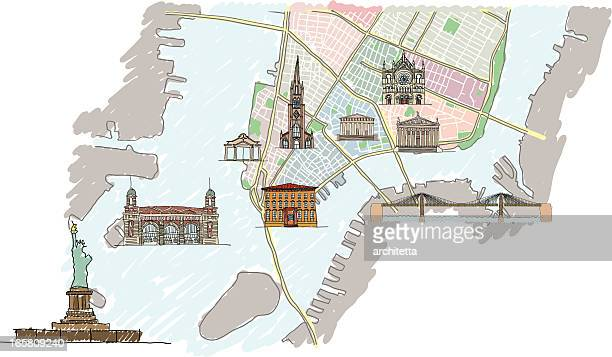 lower manhattan map with buildings - brooklyn bridge stock illustrations, clip art, cartoons, & icons